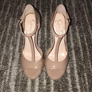 Jessica Simpson Nude, T-Strap Heels